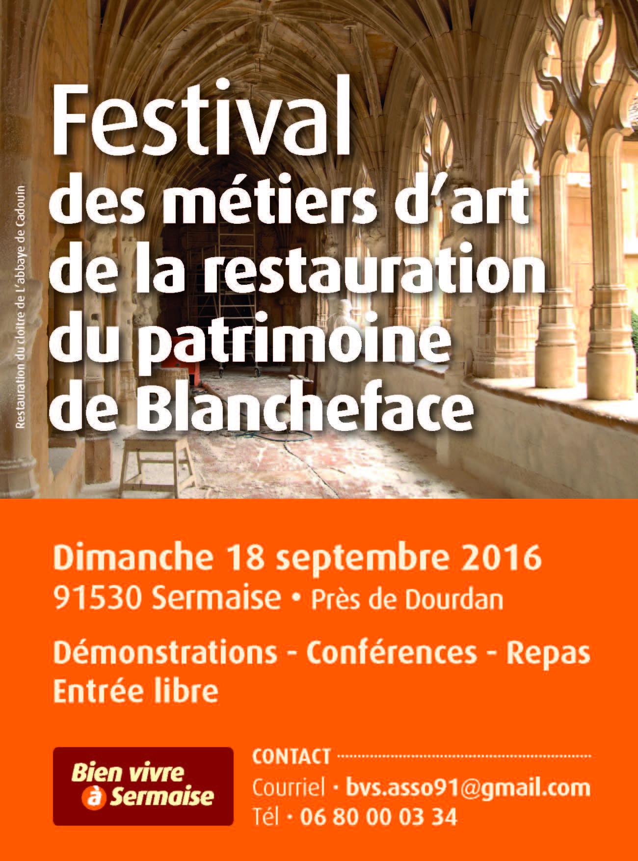 FESTIVAL Art et Restauration Patrimoine Blancheface 2016 Affiche